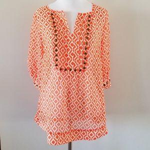 NWT Pomelo | Orange Geo Print Embellished Blouse